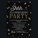 """Shh Surprise Birthday Party Faux Glitter Confetti Card<br><div class=""""desc"""">This chic and stylish Surprise Birthday Party invitation features an elegant faux gold glitter confetti theme with modern typography that is great for any age. Customize background color. *Please note that this is not actual glitter and will be printed flat. For an even more memorable invitation select a die-cut shape,...</div>"""