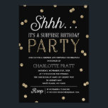 "Shh Surprise Birthday Party Faux Glitter Confetti Card<br><div class=""desc"">This chic and stylish Surprise Birthday Party invitation features an elegant faux gold glitter confetti theme with modern typography that is great for any age. Customize background color. *Please note that this is not actual glitter and will be printed flat. For an even more memorable invitation select a die-cut shape,...</div>"