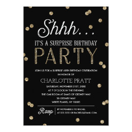Surprise birthday invitations announcements zazzle shh surprise birthday party faux glitter confetti card filmwisefo Image collections