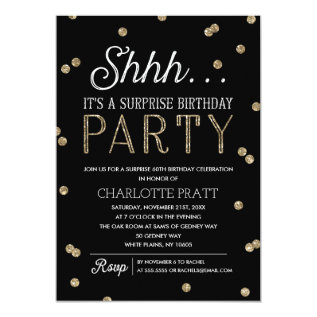 Shh Surprise Birthday Party Faux Glitter Confetti Card at Zazzle