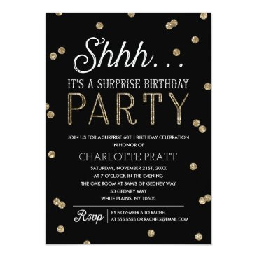 NBpaperco Shh Surprise Birthday Party Faux Glitter Confetti Card