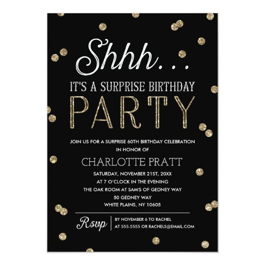 Shh Surprise Birthday Party Faux Glitter Confetti Card – Shhh Surprise Party Invitations