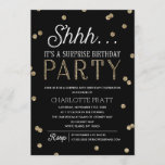 """Shh Surprise Birthday Party Faux Glitter Confetti Invitation<br><div class=""""desc"""">This chic and stylish Surprise Birthday Party invitation features an elegant faux gold glitter confetti theme with modern typography that is great for any age. Customize background color. *Please note that this is not actual glitter and will be printed flat. For an even more memorable invitation select a die-cut shape,...</div>"""