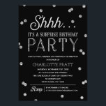 "Shh Surprise Birthday Party Faux Glitter Confetti Invitation<br><div class=""desc"">This chic and stylish Surprise Birthday Party invitation features an elegant faux silver glitter confetti theme with modern typography that is great for any age. Customize background color. *Please note that this is not actual glitter and will be printed flat. For an even more memorable invitation select a die-cut shape,...</div>"