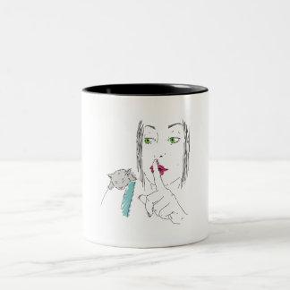 shh taza de café de dos colores