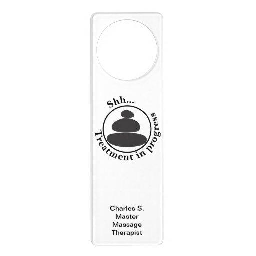 Shh Treatment in Progress with Hot Stone Massage Door Hangers