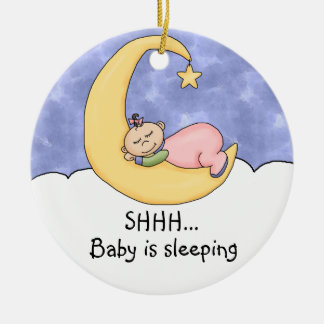 Shhh Baby Sleeping Door Hanger Double-Sided Ceramic Round Christmas Ornament