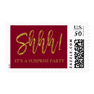 Shhh! Burgundy and Gold Surprise Birthday Party Postage