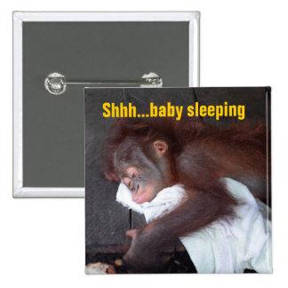 Shhh el dormir del bebé pin cuadrado