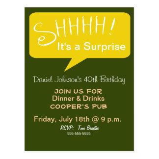Shhh fiesta de sorpresa - verde y oro postales