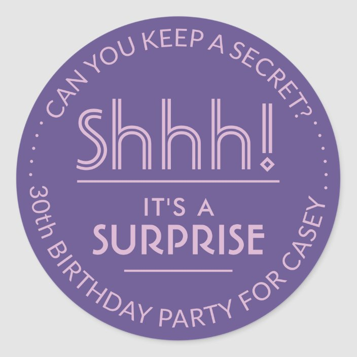 30 SHH IT/'S A SURPRISE PARTY ENVELOPE SEALS LABELS PARTY FAVORS STICKERS 1.5/""