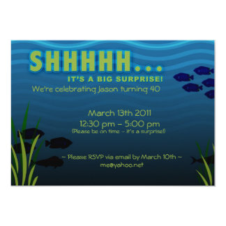 SHHH! It's a Surprise Birthday Party 5x7 Paper Invitation Card
