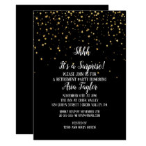 Shhh It's a Surprise Gold Confetti on Black Party Invitation