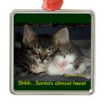 Shhh...Santa's almost here! Square Metal Christmas Ornament