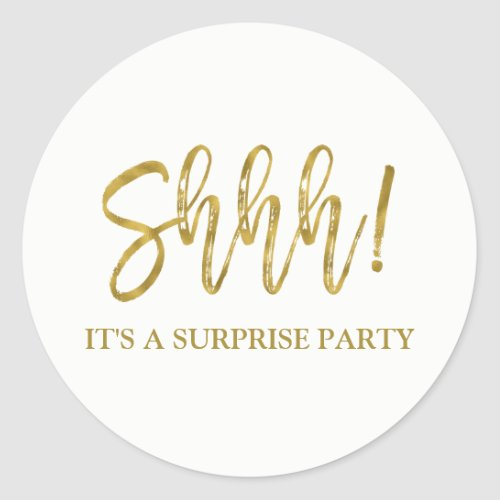 Shhh Surprise Birthday Party Birthday Classic Round Sticker