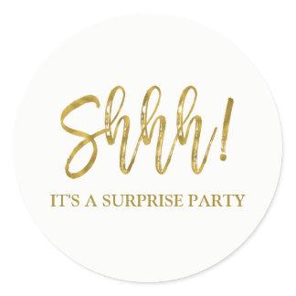Shhh! Surprise Birthday Party Birthday Classic Round Sticker