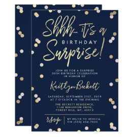 Shhh... Surprise Birthday Party Gold Foil Confetti Invitation
