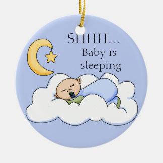 Shhh suspensión de puerta el dormir del bebé adorno redondo de cerámica