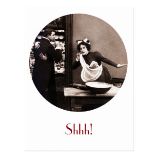 Shhh! What the Butler Saw - Vintage Comic Tryst Postcard