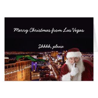 Shhhh, por favor tarjeta de Navidad de Las Vegas