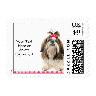 Shi Tsu with Pink Bow on Pink Diamond Border Postage Stamp