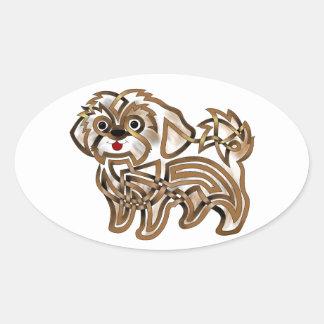 Shi-tzu Oval Sticker
