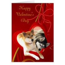 Shiba and Siberian Valentine's Day Card