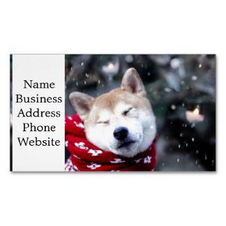 Shiba dog - doge dog - merry christmas magnetic business card