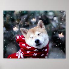Shiba dog - doge dog - merry christmas poster