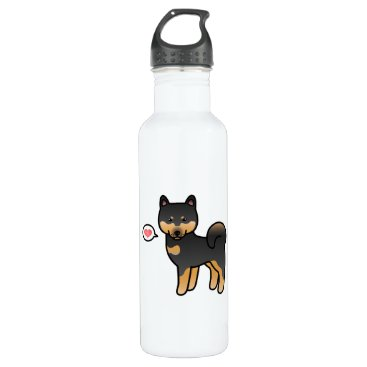 destei Shiba Inu Black And Tan Love Stainless Steel Water Bottle