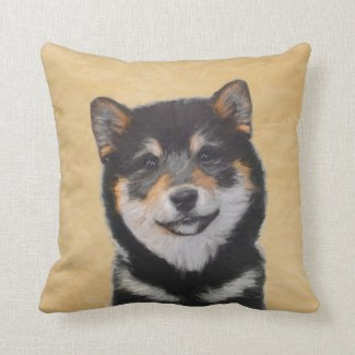 Shiba Inu (Black and Tan) Throw Pillow