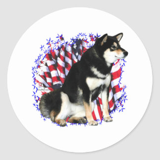 Shiba Inu (blk) Patriot Round Stickers