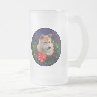Shiba Inu Christmas Gifts Frosted Glass Beer Mug