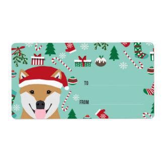 Shiba Inu Christmas labels  - doge christmas
