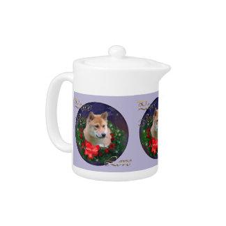 Shiba Inu Christmas Teapot