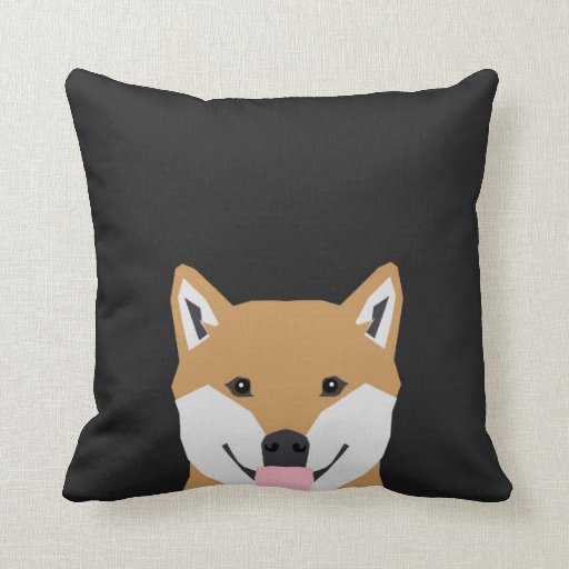 Cute Pillow Illustration : Shiba Inu - cute dog illustration for pet owners Pillow Zazzle