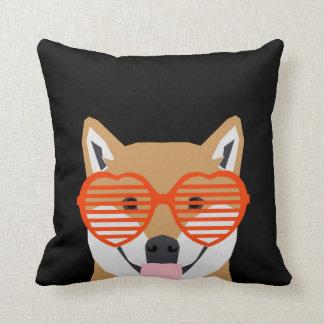 Shiba Inu - Cute heart glasses -black white design Throw Pillow