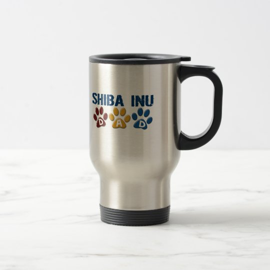 SHIBA INU Dad Paw Print 1 Travel Mug