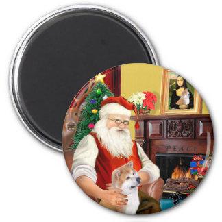 Shiba Inu de Santa (que mira para arriba) Imán Redondo 5 Cm