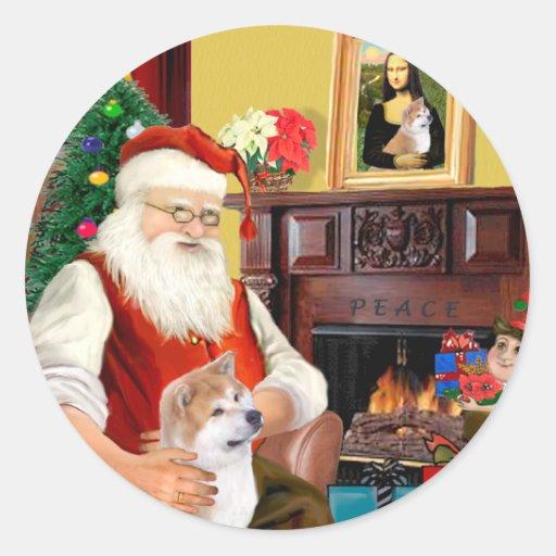 Shiba Inu de Santa (que mira para arriba) Etiquetas Redondas