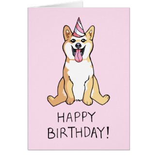 Shiba Inu Dog Drawing Happy Birthday Card