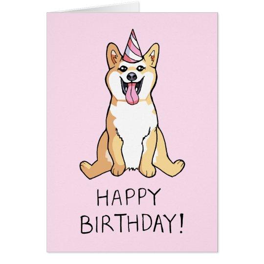 Shiba Inu Dog Drawing Happy Birthday Card – Happy Birthday Cards with Dogs