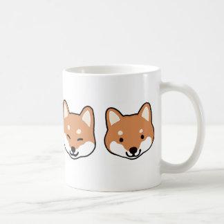 Shiba Inu Dog Faces Classic White Coffee Mug