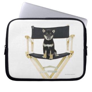Shiba Inu dog on director's chair Laptop Sleeve