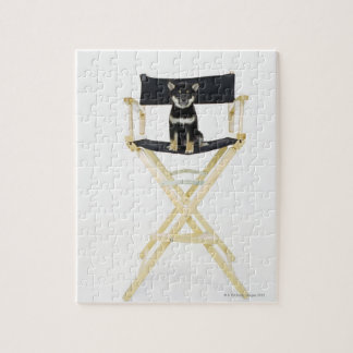 Shiba Inu dog on director's chair Jigsaw Puzzle