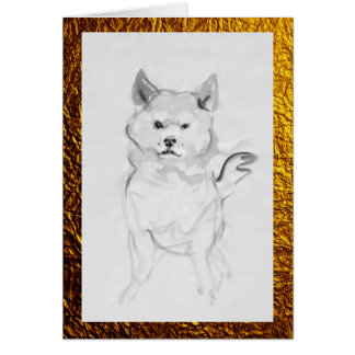Shiba Inu Dog Portrait Pet Ink Wash Painting card