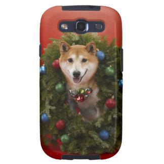 Shiba Inu dog sitting in Christmas wreath Samsung Galaxy SIII Case