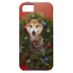 Shiba Inu dog sitting in Christmas wreath iPhone SE/5/5s Case