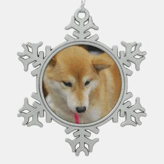 Shiba Inu Dog Snowflake Pewter Christmas Ornament