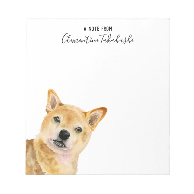 Shiba Inu Dog Watercolor Art Add Your Name Notepad Zazzle Com